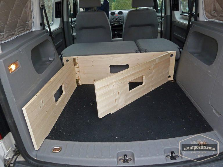 A very clever DIY VW Caddy camper conversion / camping box (boot jump)