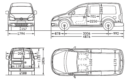 caddy maxi boot dimensions length height