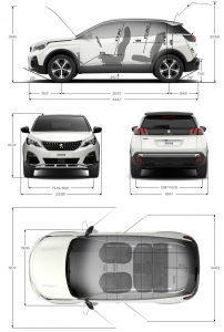 peugeot 3008 dimensions incl boot size length
