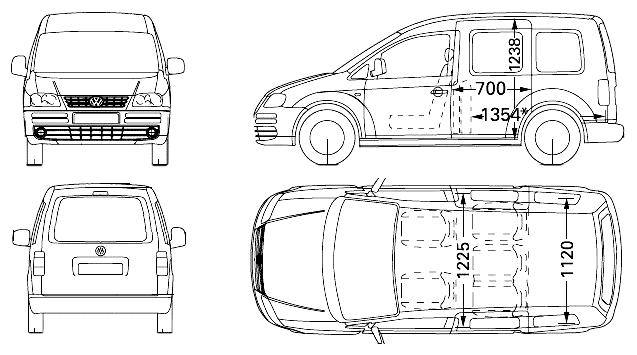 caddy life 2008 dimensions